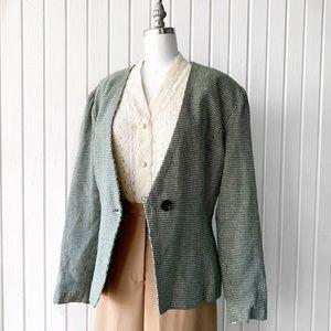 Vintage 1950s Green Houndstooth Blazer Jacket